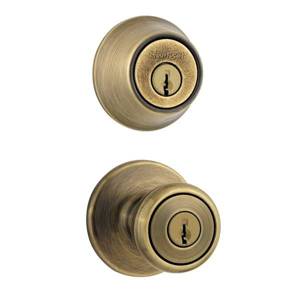 690 Tylo Keyed Entry Knob and Single Cylinder Deadbolt Combo Pack in Antique Brass