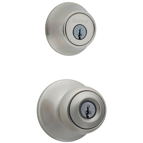 690 Polo Keyed Entry Knob and Single Cylinder Deadbolt Combo Pack in Satin Nickel