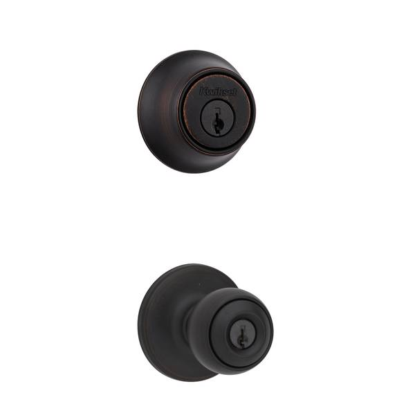 690 Polo Keyed Entry Knob and Single Cylinder Deadbolt Combo Pack in Venetian Bronze