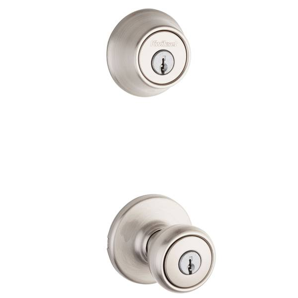 690 Tylo Keyed Entry Knob and Single Cylinder Deadbolt Combo Pack in Satin Nickel