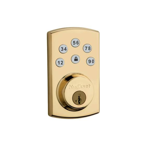 907 Powerbolt2 Electronic Deadbolt featuring SmartKey in Polished Brass
