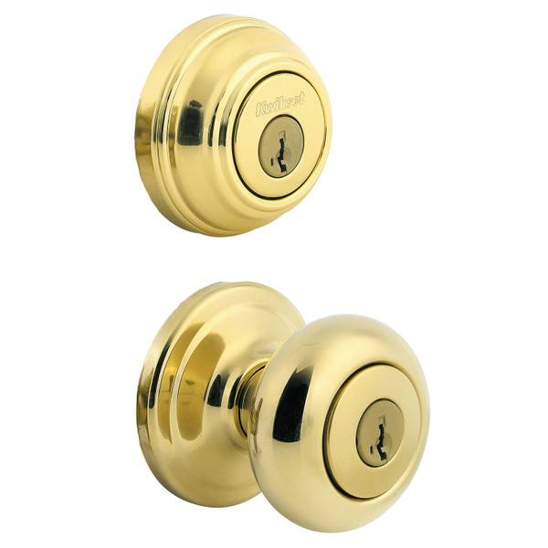 991 Juno Keyed Entry Knob and Single Cylinder Deadbolt Combo Pack featuring SmartKey in Polished Br