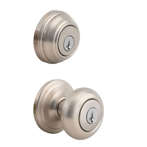 991 Juno Keyed Entry Knob and Single Cylinder Deadbolt Combo Pack featuring SmartKey in Satin Nicke