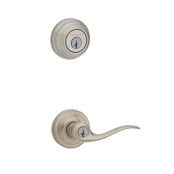 991 Tustin Keyed Entry Lever and Single Cylinder Deadbolt Combo Pack featuring SmartKey in Satin Ni