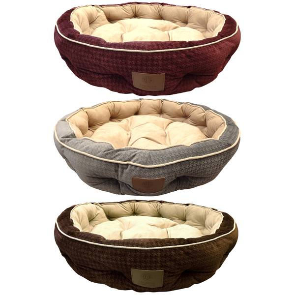 AKC Houndstooth Memory Foam Thermal Pet Bed Assortment
