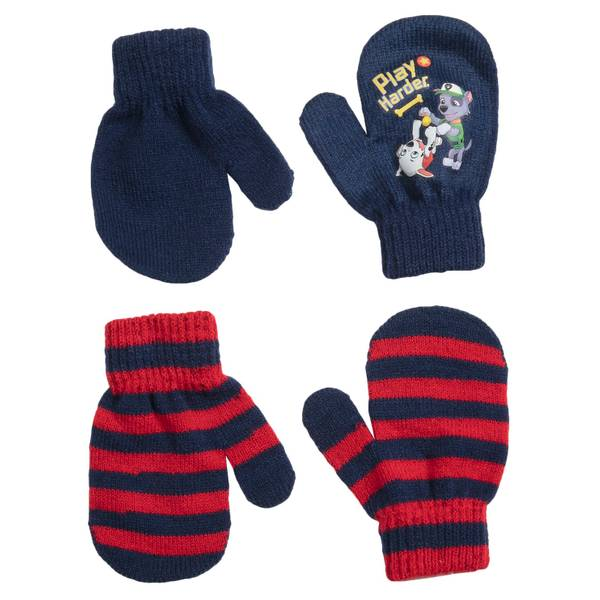 Toddler Boys' Paw Patrol Work Hard, Play Hard Mittens - 2 Pack