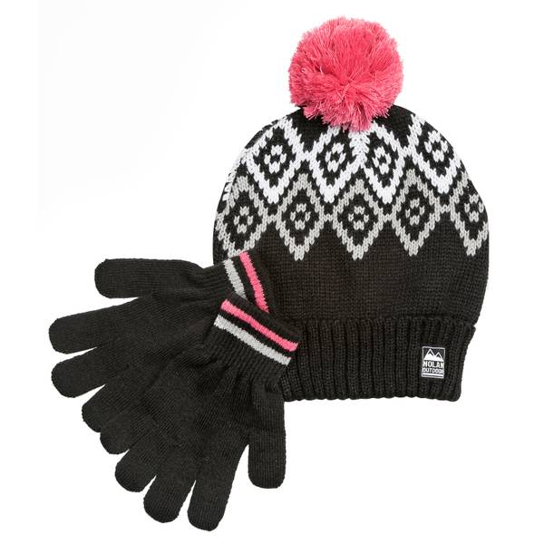 Girls' Fairisle Hat & Mitten Set