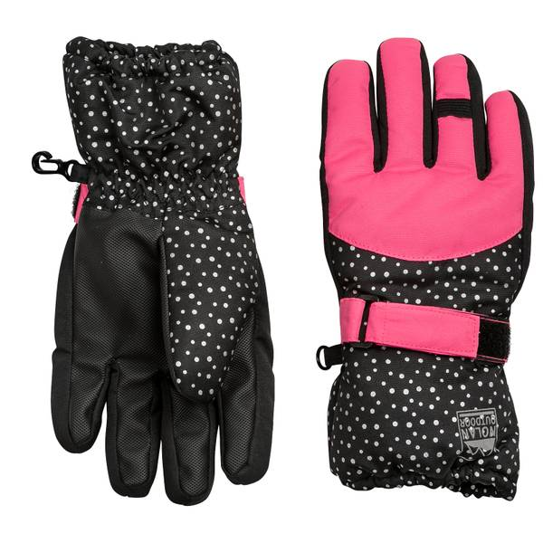 Girls' Dot Print Ski Gloves