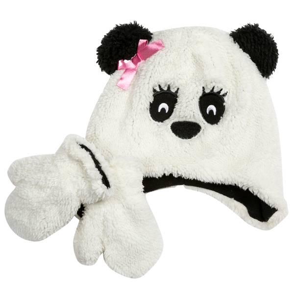 Infant Panda Hat & Mitten Set
