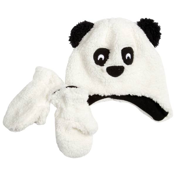 Infant Panda Hat & Mitten Set