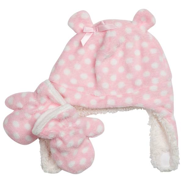 Infant Girls' Polka Dot Hat & Mitten Set