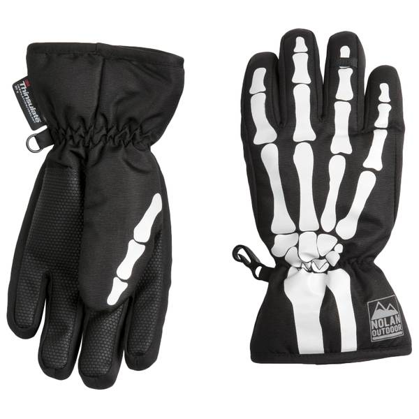 Boy's Glow Skeleton Ski Gloves