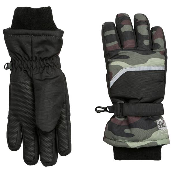 Boy's Camo Ski Gloves
