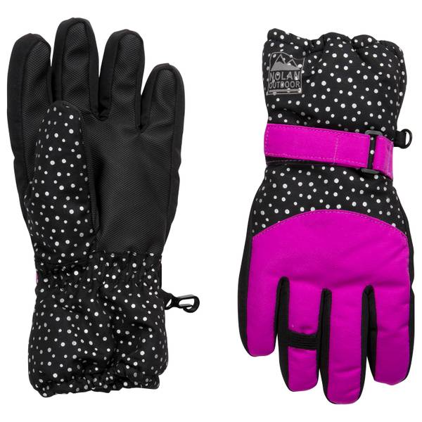 Girls' Dot Print Ski Gloves