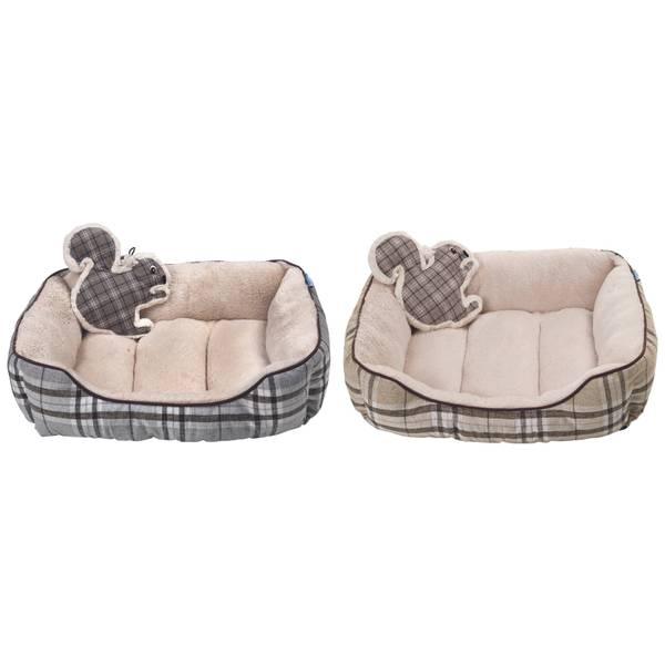 Burlap Cuddler Pet Bed with Squirrel Toy Assortment