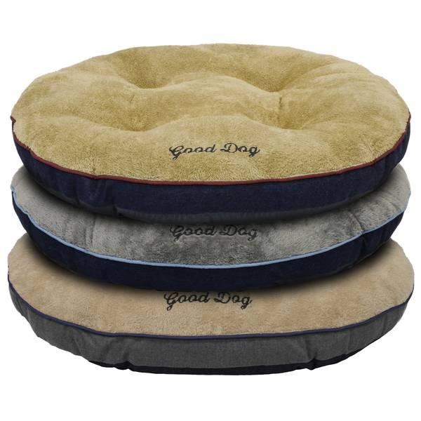 """37"""" Round Tufted Good Dog Denim Bed"""