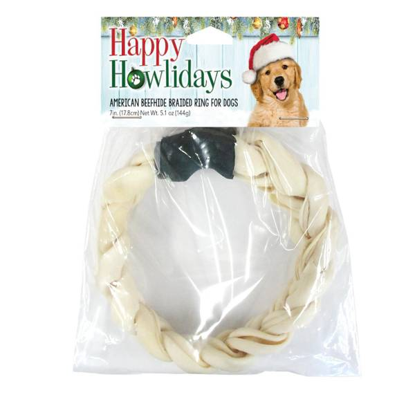 "American Beefhide 7-8"" Holiday Braided Ring Toy"