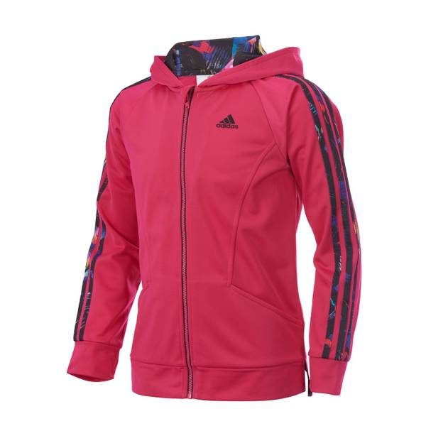 Girls' Bold Pink Hooded Tricot Jacket