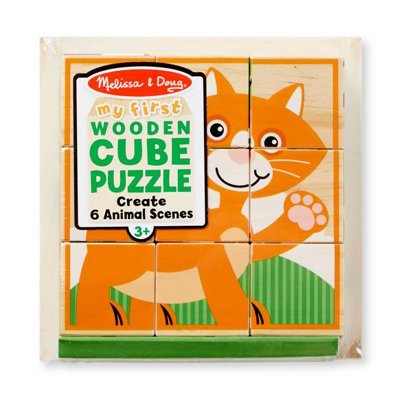 My First Wooden Cube Puzzle - Animals Assortment