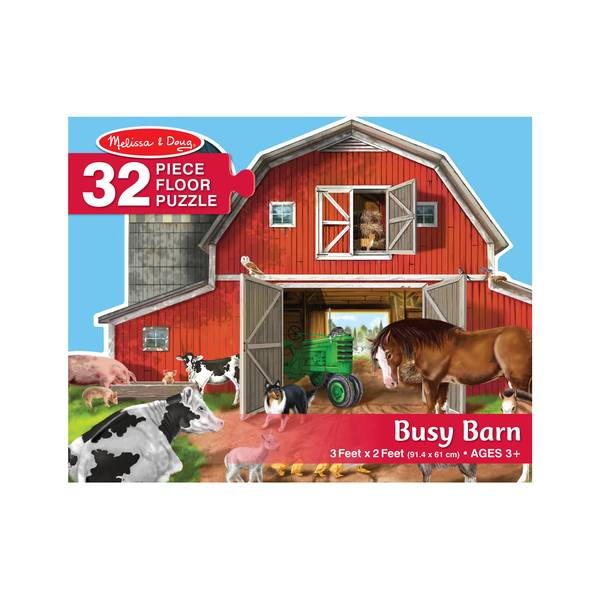 32-Piece Busy Barn Shaped Floor Puzzle