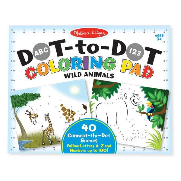 ABC-123 Wild Animals Dot-to-Dot Coloring Pad