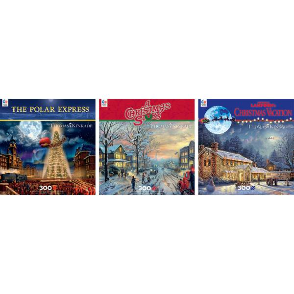 300-Piece Oversize Holiday Thomas Kinkade Puzzle Assortment