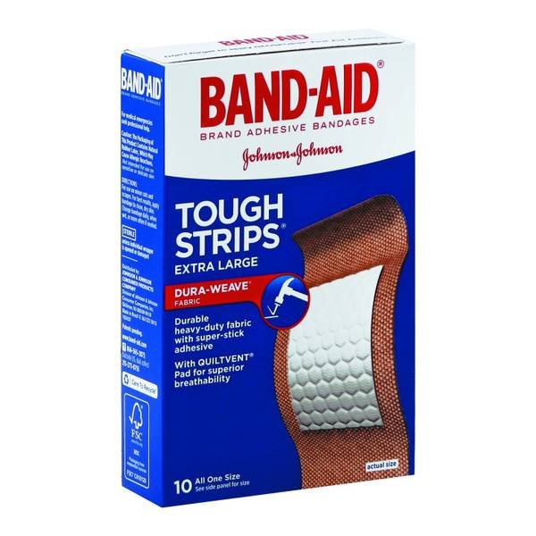 Band-Aid Brand Tough-Strips Adhesive Bandages, Extra Large
