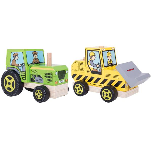 Wooden Stacking Bulldozer & Tractor Assortment