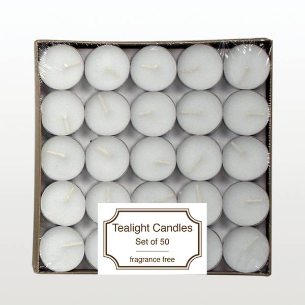 Unscented Tealight Candles - 50 Pack
