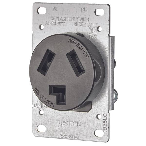 30 Amp Shallow Single Flush Mounted Receptacle