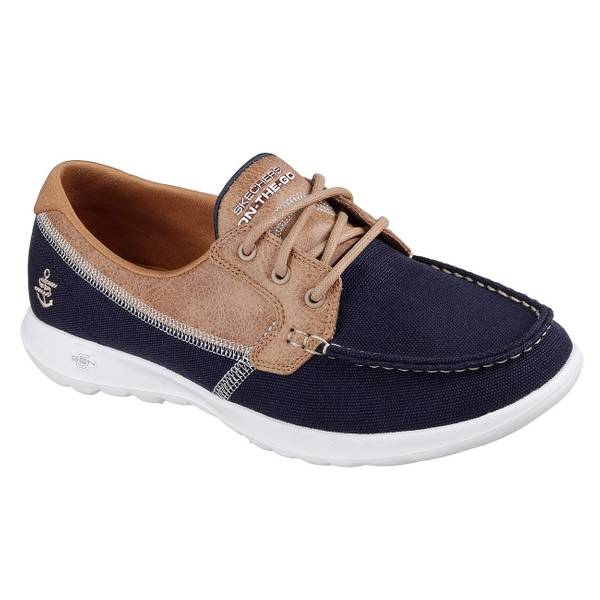 Women's Navy GOwalk Lite - Coral Boat Shoes