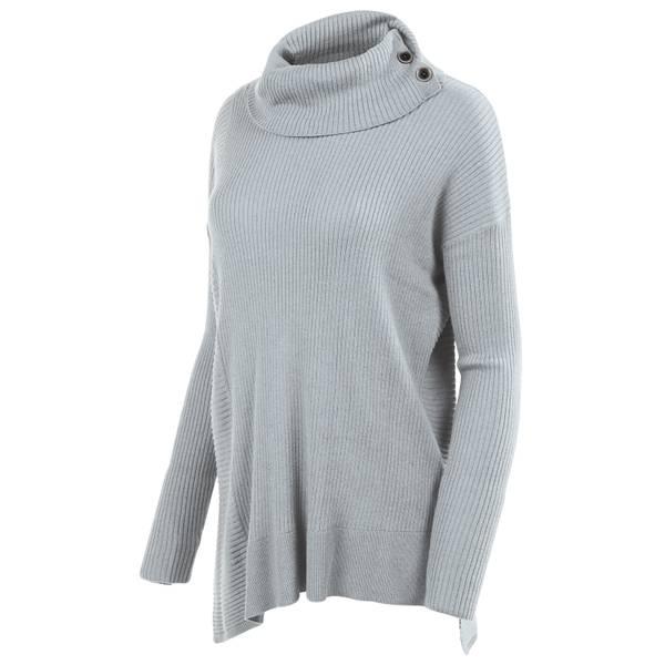Misses Solid Rib Cowl Neck Shirt