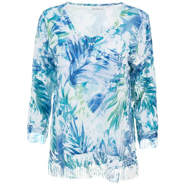 Misses Tropical Leaves Lace Fringe Sweater