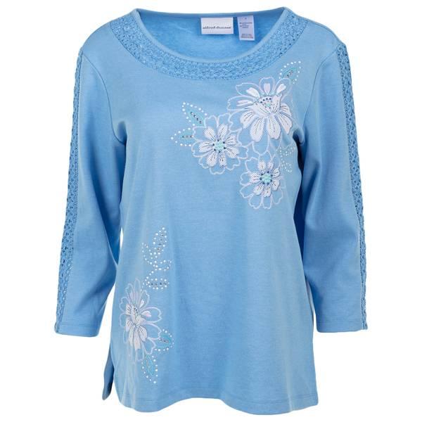 Women's Asymmetrical Floral Lace Top
