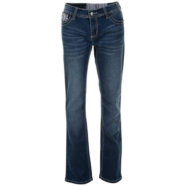 Misses Heavy Stitch Stone Flap Jeans