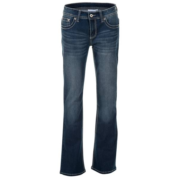 Misses Embroidered Pocket Straight Leg Jeans