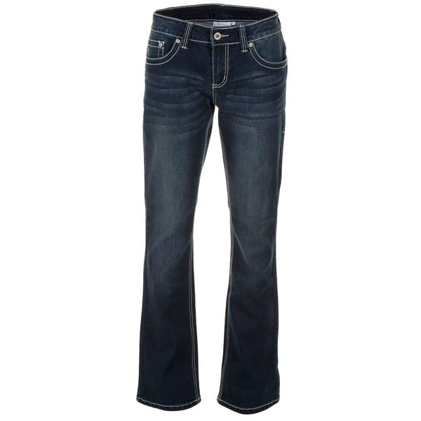 Misses Heavy Stitch Flap Pocket Straight Leg Jeans