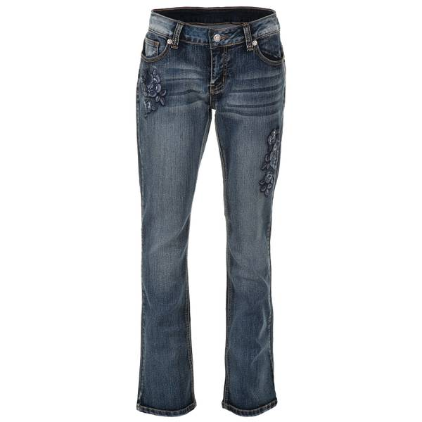 Women's Blue Rose Embroidery Jeans