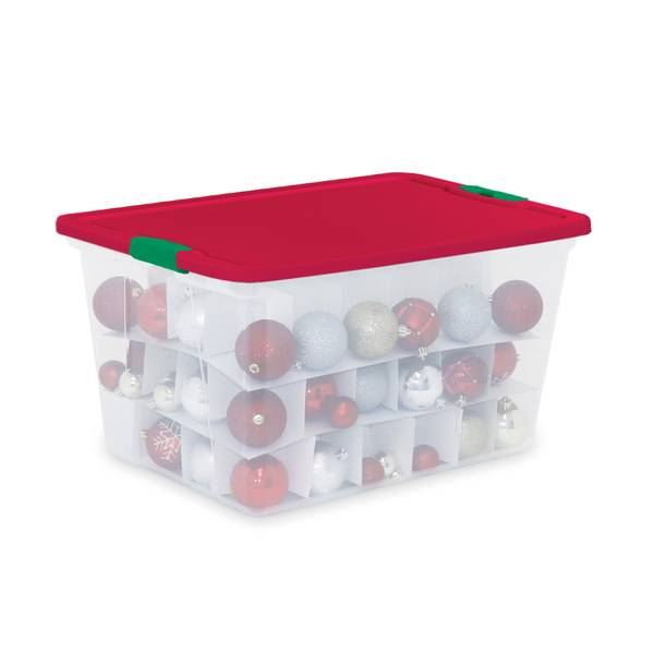 64 Qt Ornament Storage Tote with Dividers