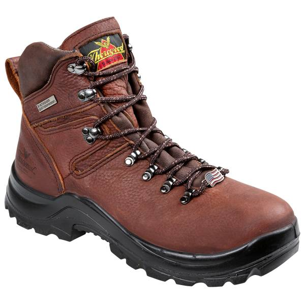 """Men's Brown 6"""" Omni Soft Toe Work Boots - Made In USA"""