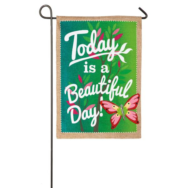 Beautiful Day Burlap Garden Flag