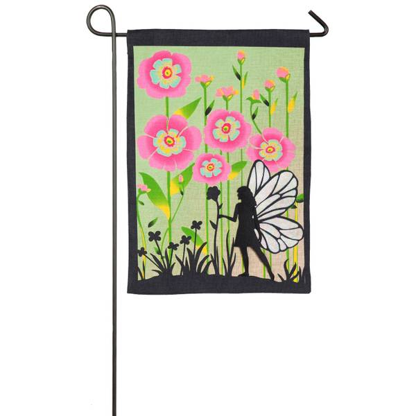 Garden Fairy Burlap Garden Flag