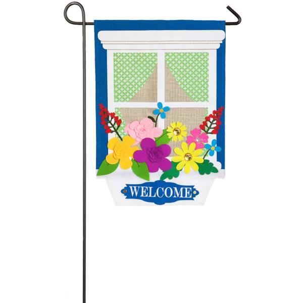 Window Box Garden Burlap Flag