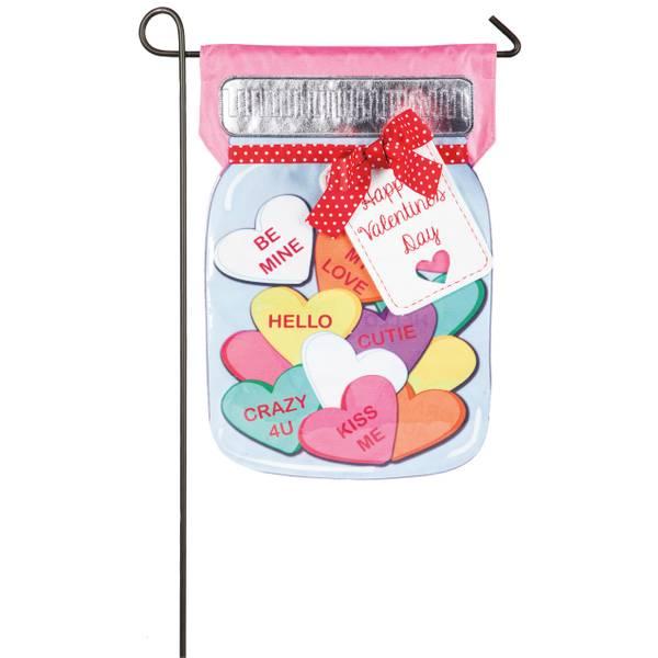 Valentines Candy Jar Garden Linen Flag
