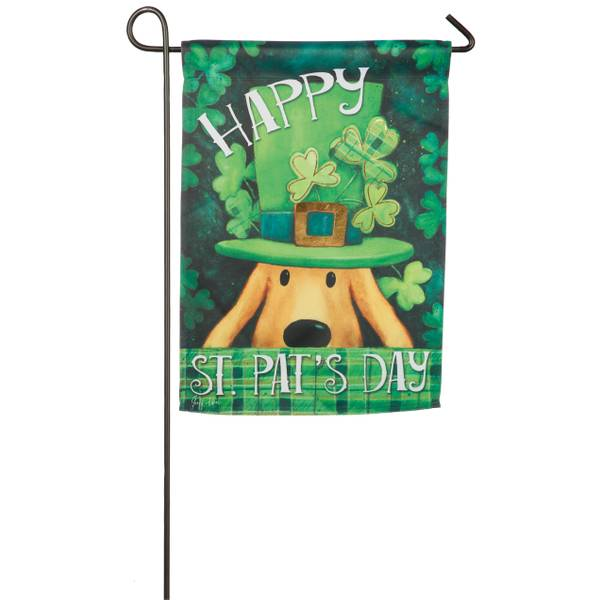 St. Patricks Dog Garden Suede Flag