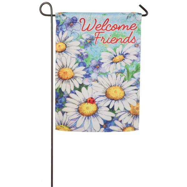 Daisy Welcome Garden Suede Flag