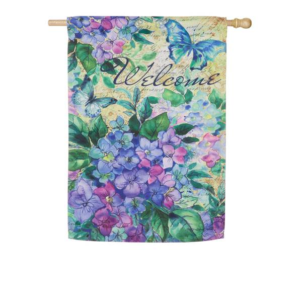 Watercolor Hydrangea House Suede Flag
