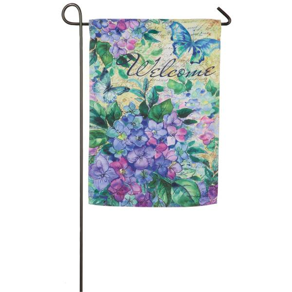 Watercolor Hydrangea Garden Suede Flag