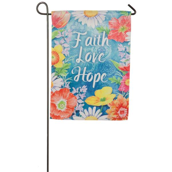 Faith Love Hope Garden Suede Flag