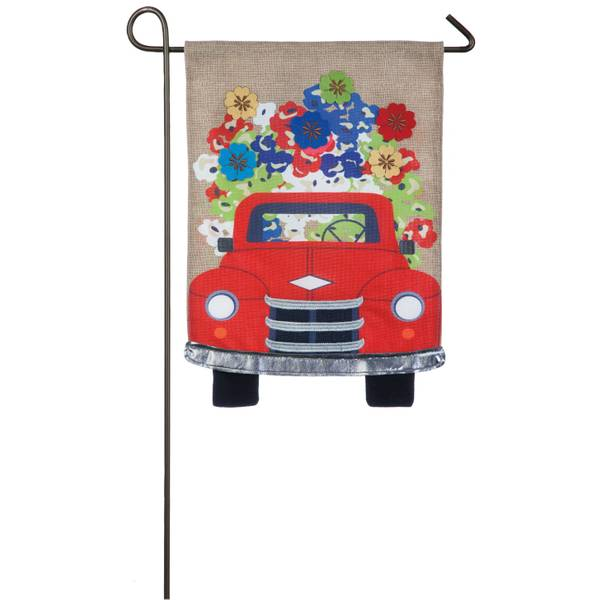 Red Truck Flowers Garden Burlap Flag